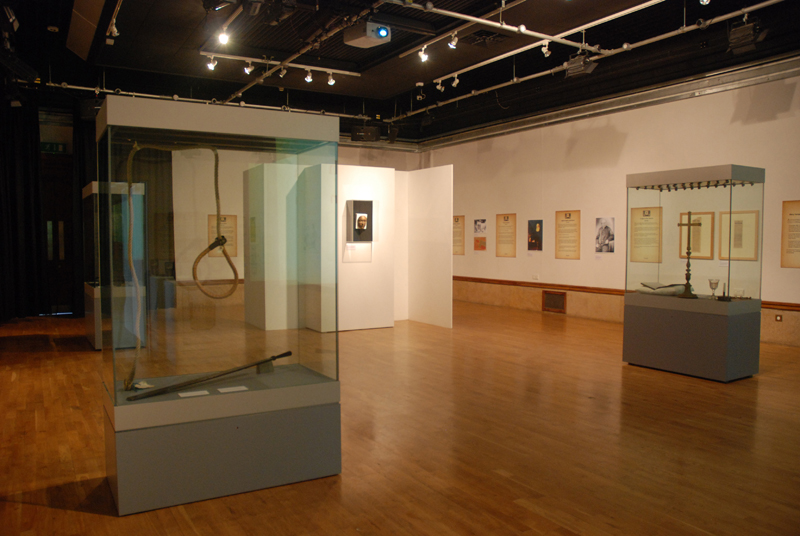 The Hour of Death exhibition at the Herbert in 2009. The Hour of Death examined the lives, crimes and punishment and context of the last two women to be hanged in Coventry. Mary Ann's skull was shown, with warnings, behind the white structure at the back of the room.