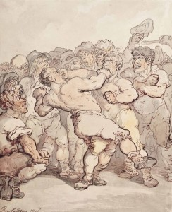 Thomas Rowlandson, Thomas Rowlandson, Description of a Boxing Match, 1812. http://theprintshopwindow.com/2013/04/26/thomas-rowlandson-the-prizefighters-1806/