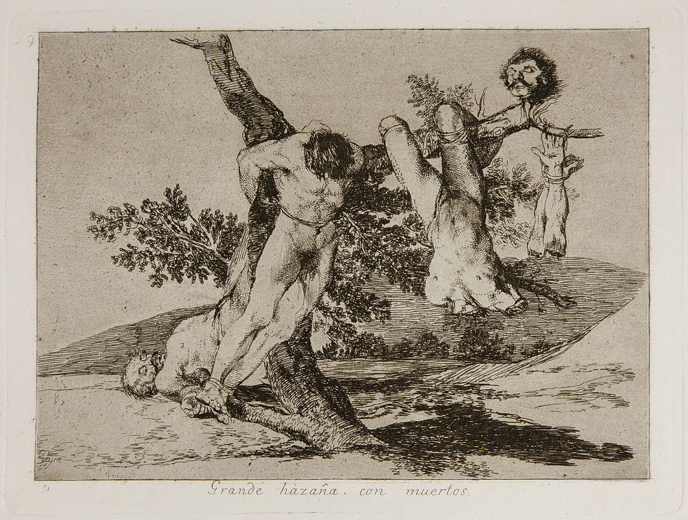 "Francisco Goya, ""Great deeds! Against the dead!"" (1810s). Source: Wikimedia Commons."