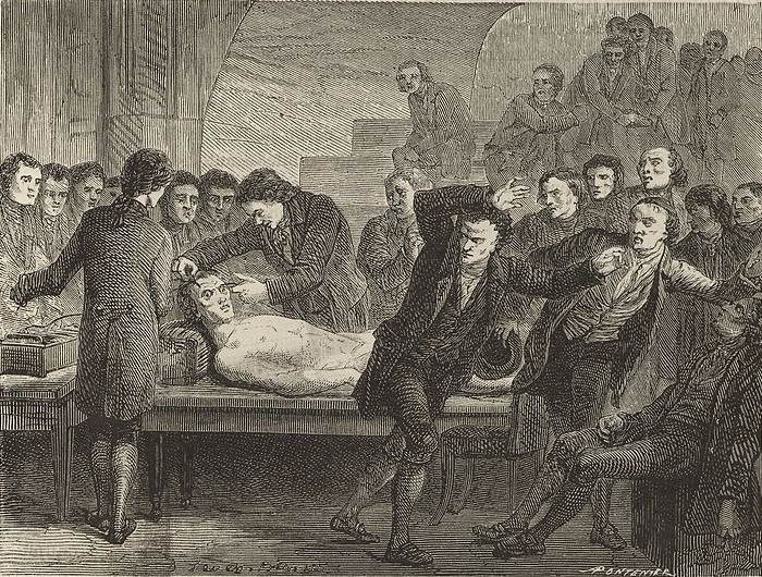 Galvanic Experiments on the body of Matthew Clydesdale, 1818. Image sourced from Wikimedia Commons