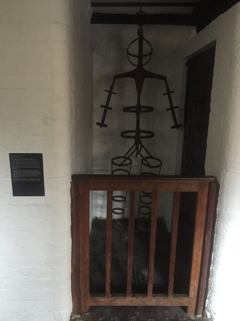 A replica of James Cook's Gibbet as displayed in  Leicester's Guildhall . Image author's own