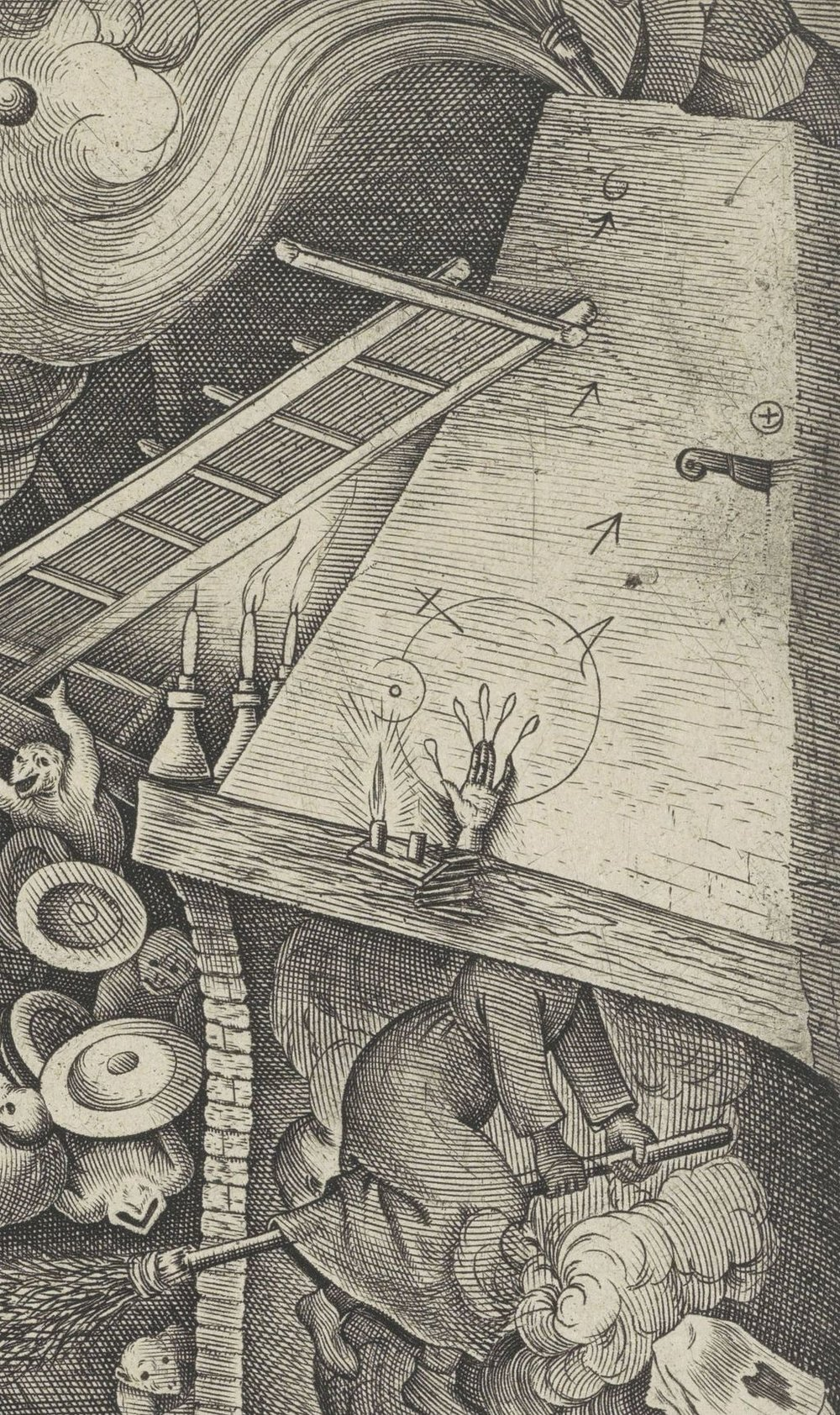 A Hand of Glory (Main de gloire) from  Jacob Meets the Magician Hermogenes  by Pieter van der Heyden (1565). Source  Rijks Museum  and Wikimedia Commons. Image out of copyright.