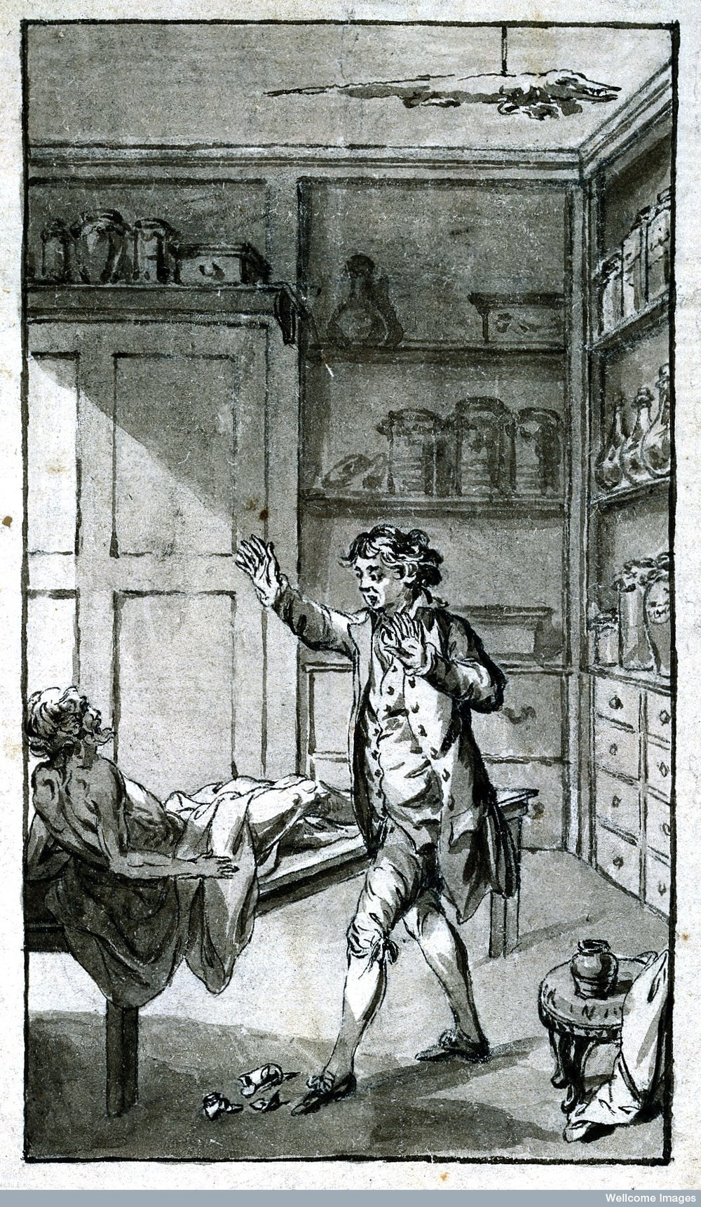 A man thought to be dead arising from a table in a laboratory and frightening the proprietor. c18th.  Wellcome Images L0022244