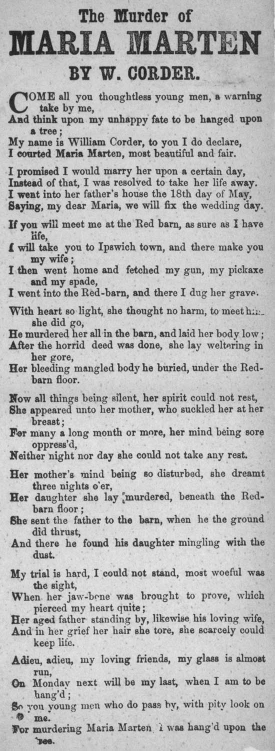 Broadside ballad entitled 'The Murder of Maria Marten.' 1830-1860. L.C.Fol.70(71b).  National Library of Scotland's  Word on the Street Project