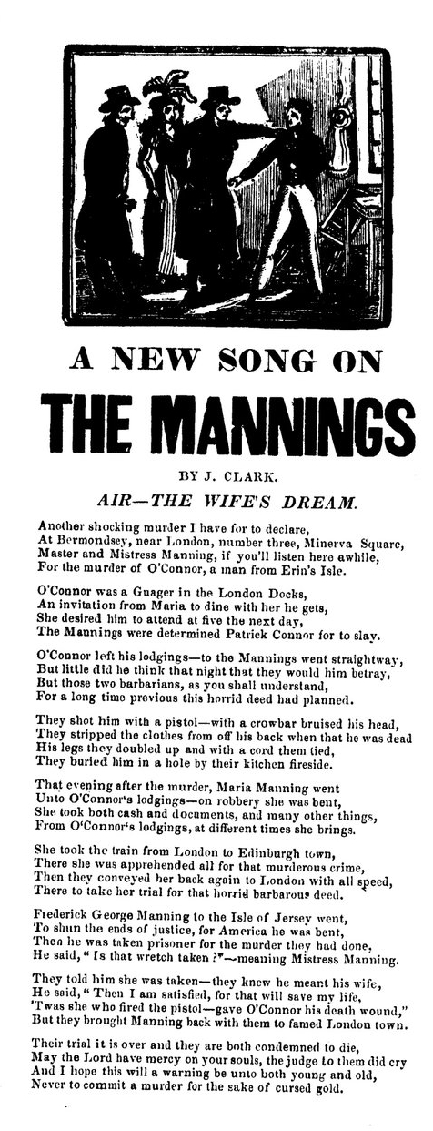 A new song on the Mannings.  Broadside Ballads Online   V23184 . Bodleian Library, Oxford.
