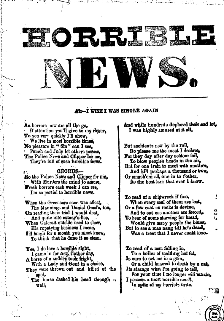 Broadside Ballad entitled Horrible News.   Broadside Ballads Online. Bodleian Library, Oxford.