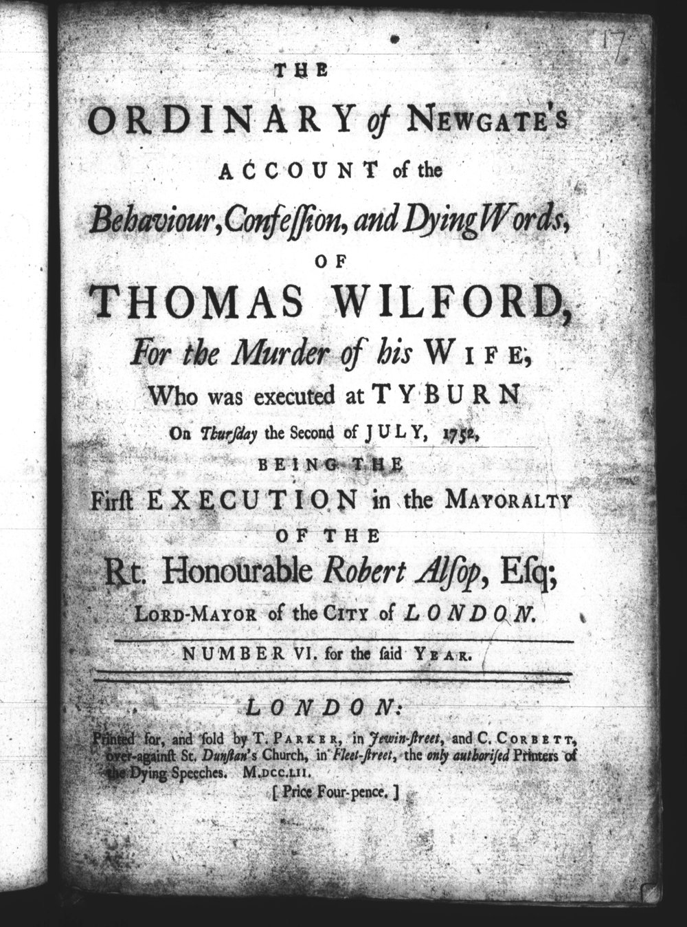The Ordinary of Newgate's Account of the behaviour, confession and dying words of Thomas Wilford. Image courtesy of Old Bailey Online.