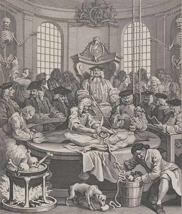 William Hogarth's The Fourth Stage of Cruelty: Plate IV The Reward of Cruelty.    Image courtesy of Wikimedia Com  mons