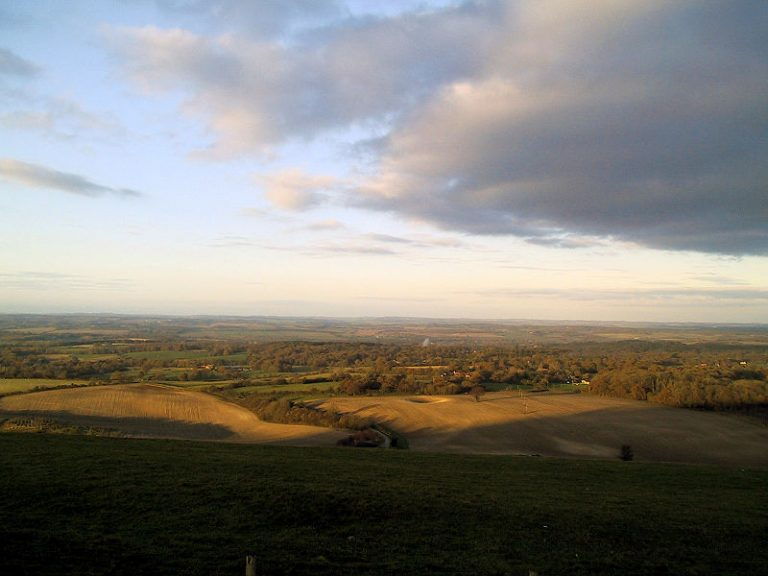 The view north from the Combe Gibbet, Berkshire (UK). This country can be so beautiful (particularly when you look AWAY from the gibbet). Photo by Joolz. 2004, Wikimedia Commons.