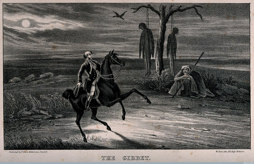 A man rides past a gibbet. Lithograph by W. Clerk.  Wellcome Images  V0042290