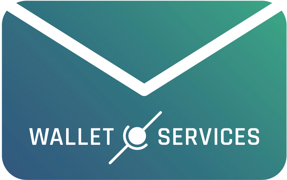 Email with Wallet.Services wordmark logo inside.