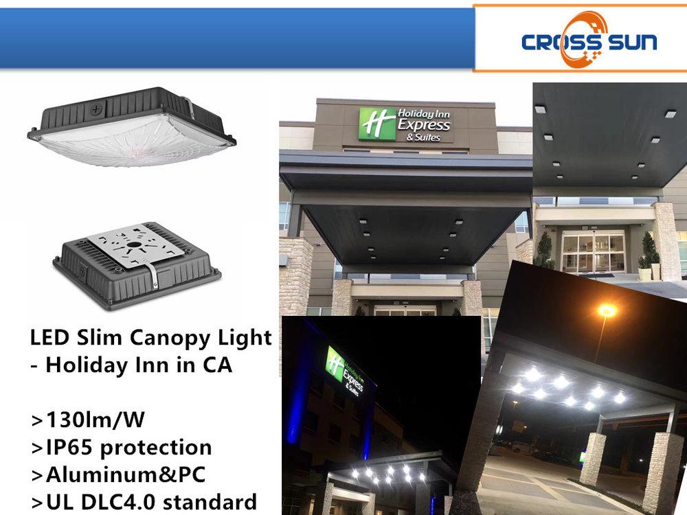 65W LED canopy light applied through Holiday Inn in California, USA