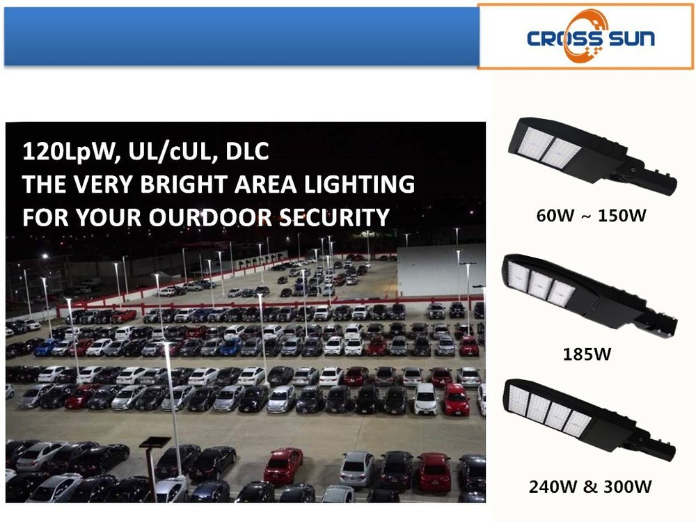 LED area shoebox lighting case with 120lm/W performance used in all parking lots application