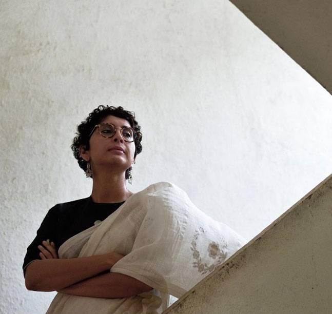 Kiran Rao in the most common drape,  the Nivi drape  (Image Courtesy- Border & Fall's Kickstarter page)