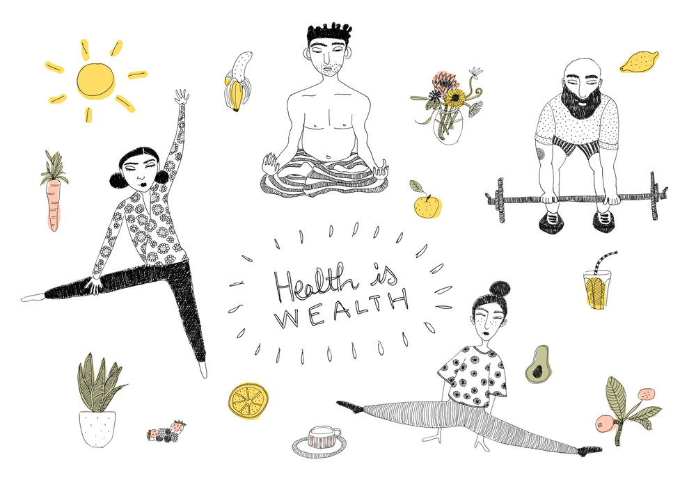 'Health is wealth'  by Araki Koman for  The Lookout Journal