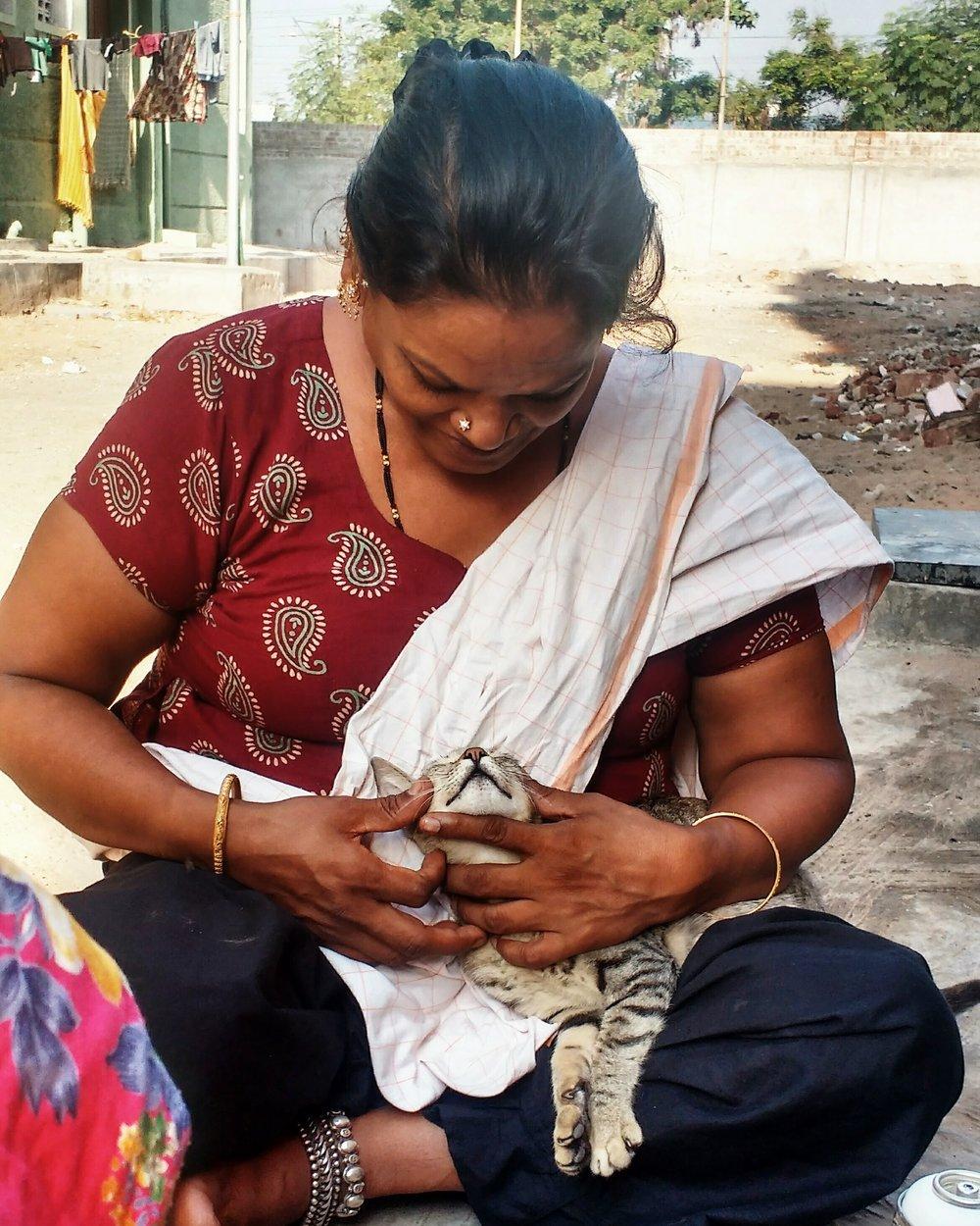 Nirmala with a cat.Chennai, April 2017
