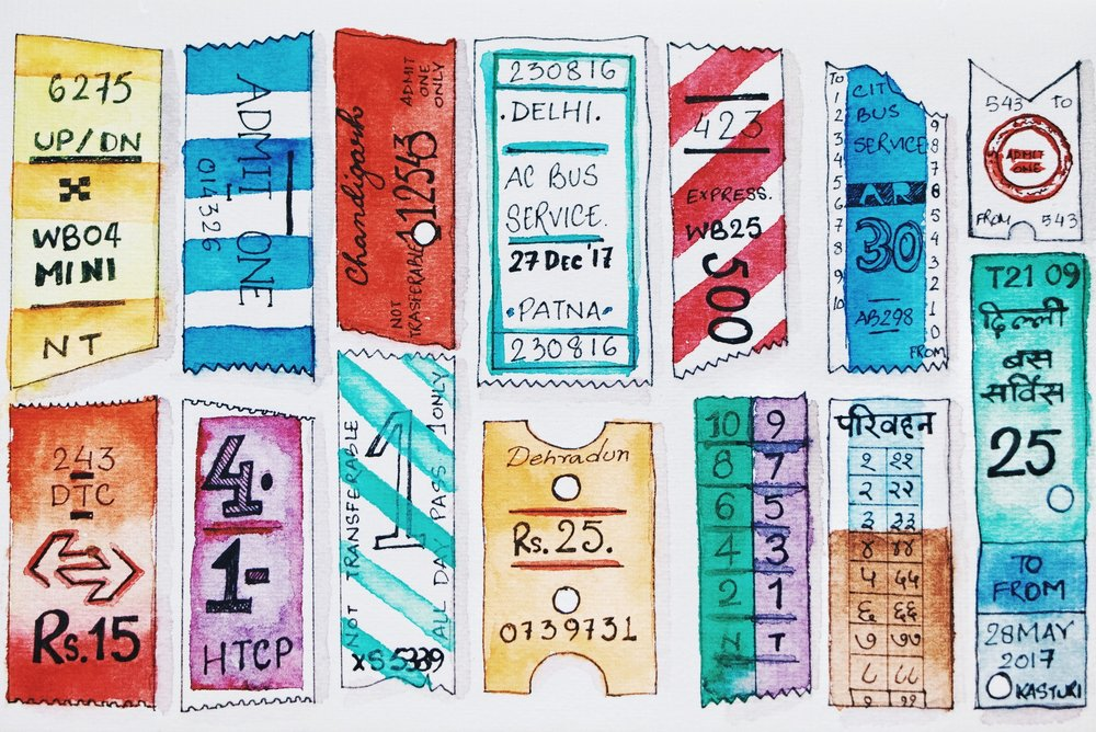 Bus tickets , by Kasturi Roy, for TLJ