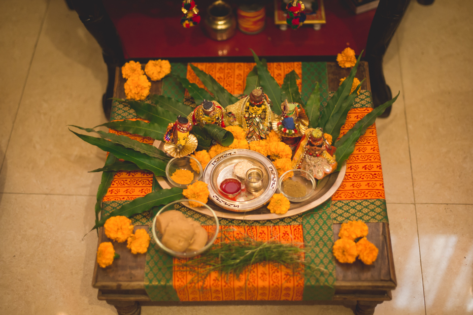 The set-up for our pre-wedding  Gangaur puja.
