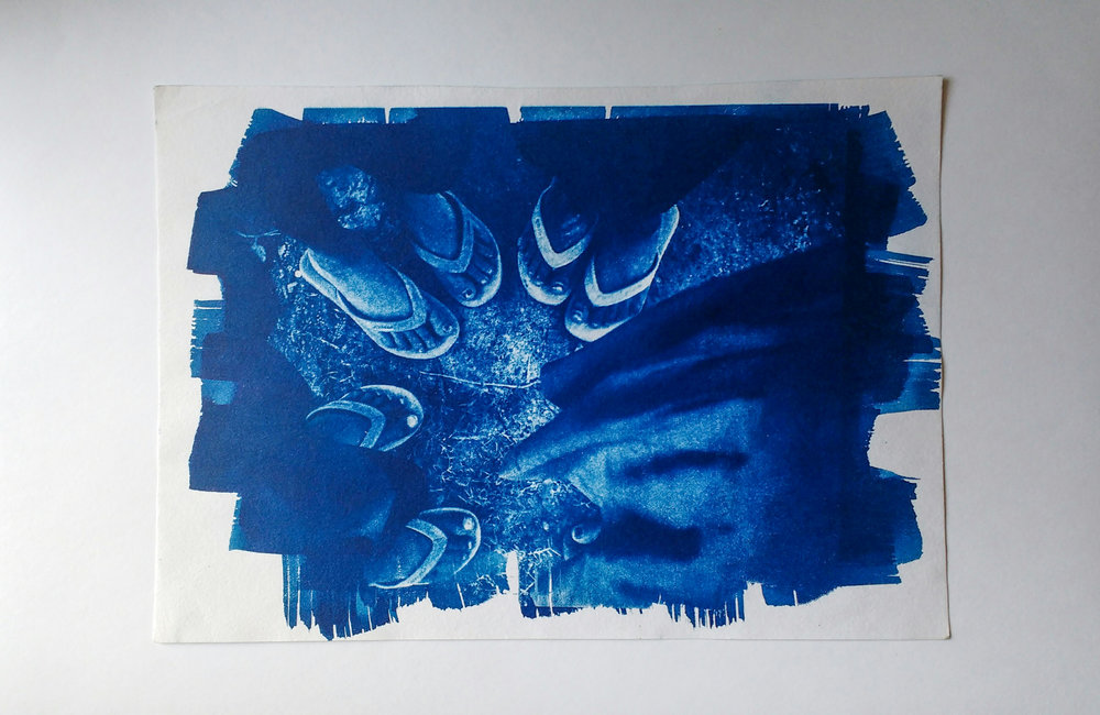 Cyanotype made using a foam brush