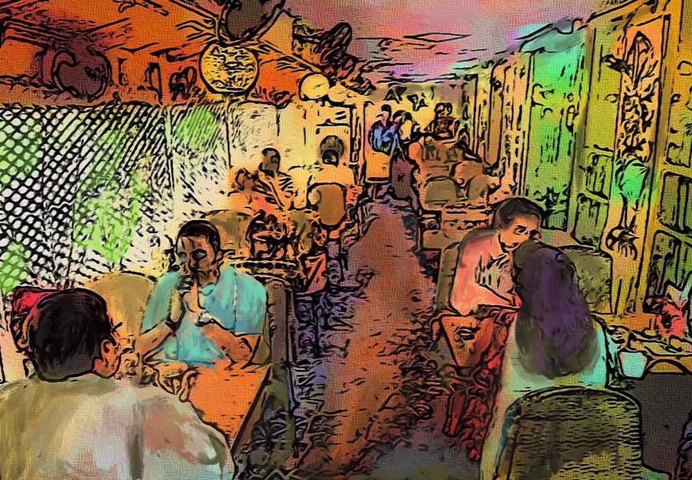 Cafe Samovar , digitally painted by Unnikrishna for TLJ