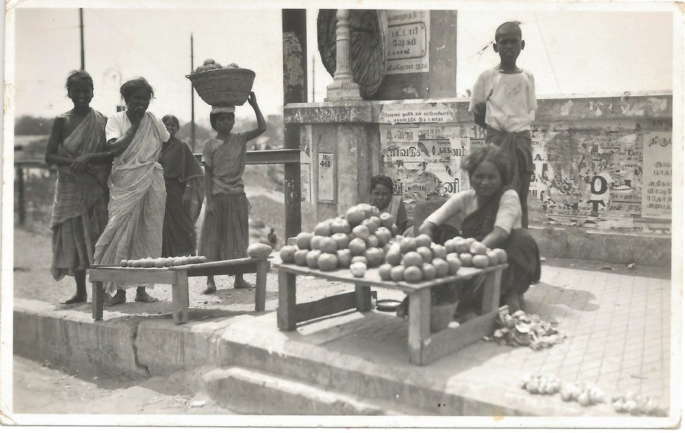 Uncaptioned real photo postcard of street vendors in Madras. Publisher unknown. Mid 1930s.