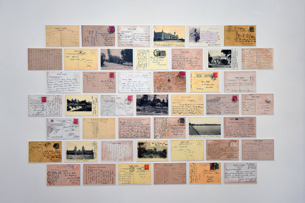 "Wall of picture postcard messages at the exhibition ""From Madras to Bangalore: Picture Postcards as Urban History of Colonial India"" at the Brunei Gallery, SOAS. Photograph: Glenn Ratcliffe, 2018"
