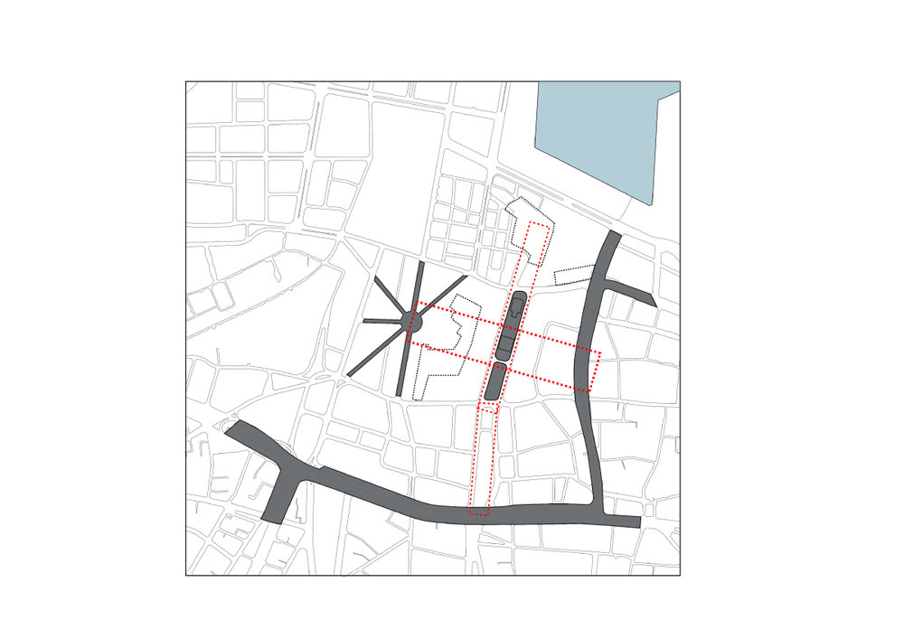 Observing Solidere's commercial strategy and zoning for exclusive private housing, a complementary series of public, institutional and educational spaces are proposed, to re-allow an active participation of the state in the supposedly private-public joint venture, forming a new common ground that functions beyond sectarian identifications.   fig.6:  Strategy - The square as central hall at the scale of the nation, linking the centre and the city