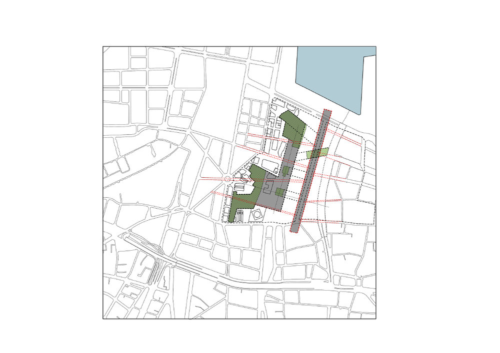The project understands the articulation of the political in a new secular city centre as dependent on a synthesis of the domestic sphere of the individual and a public space of coexistence, and uses the central hall type to explore this spatial relationship between citizens and society.    fig.7:  A central spine at the scale of the neighborhood