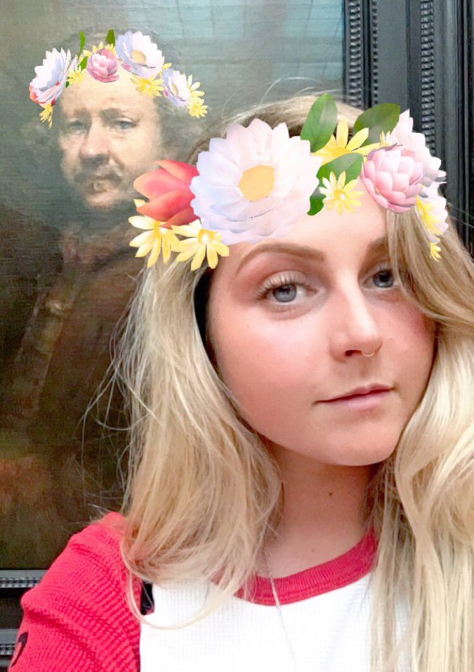Playing around with Snapchat's filter functions, Rowena Malpass adds a touch of glam to one of Rembrandt's infamous self-portraits