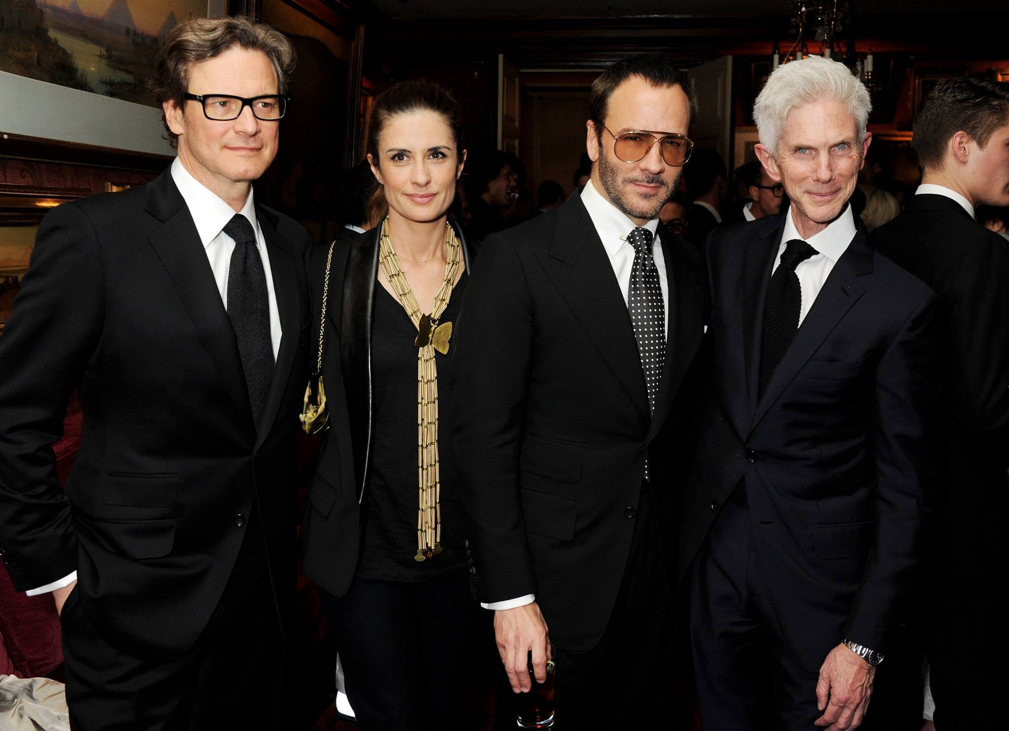 Tom Ford with Colin Firth, Livia Firth and Richard Buckley