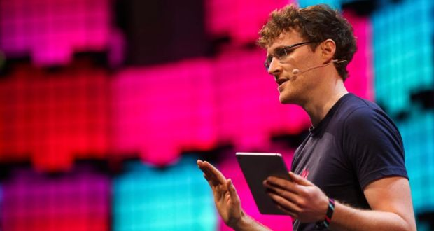 "In Lisbon, Web Summit founder Paddy Cosgrave ""paced the stage like a man who had lost his keys, clutching a tiny iPad as a life raft"". Photograph: Andre Kosters/EPA"