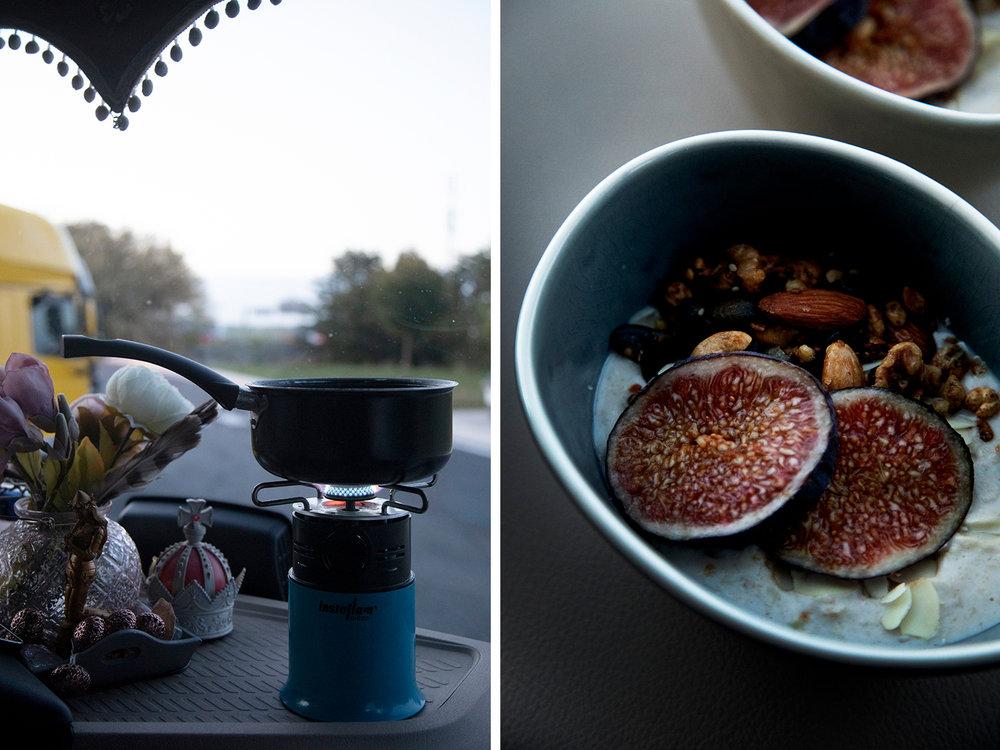 eten en koken in de vrachtwagen