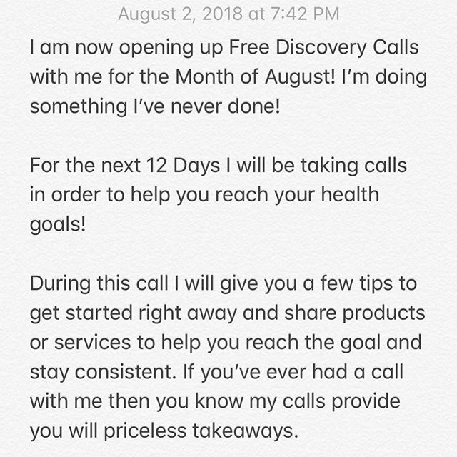 Soooo you can now tap the link in my bio to schedule your discovery call! Please answer all questions thoroughly and set a reminder for your scheduled time. Looking forward to helping you reach your health goals.