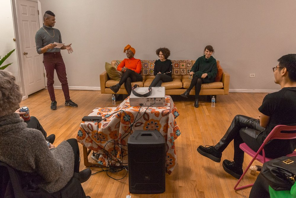 In-Session  conversation at Threewalls. From left to right: Omar Dyette (intern, Threewalls), Dr. Jeffreen Hayes (Executive Director at Threewalls), me, Charlotte Ickes (Andrew W. Mellon Postdoctoral Curatorial Fellow at the Museum of Contemporary Art Chicago) 2018