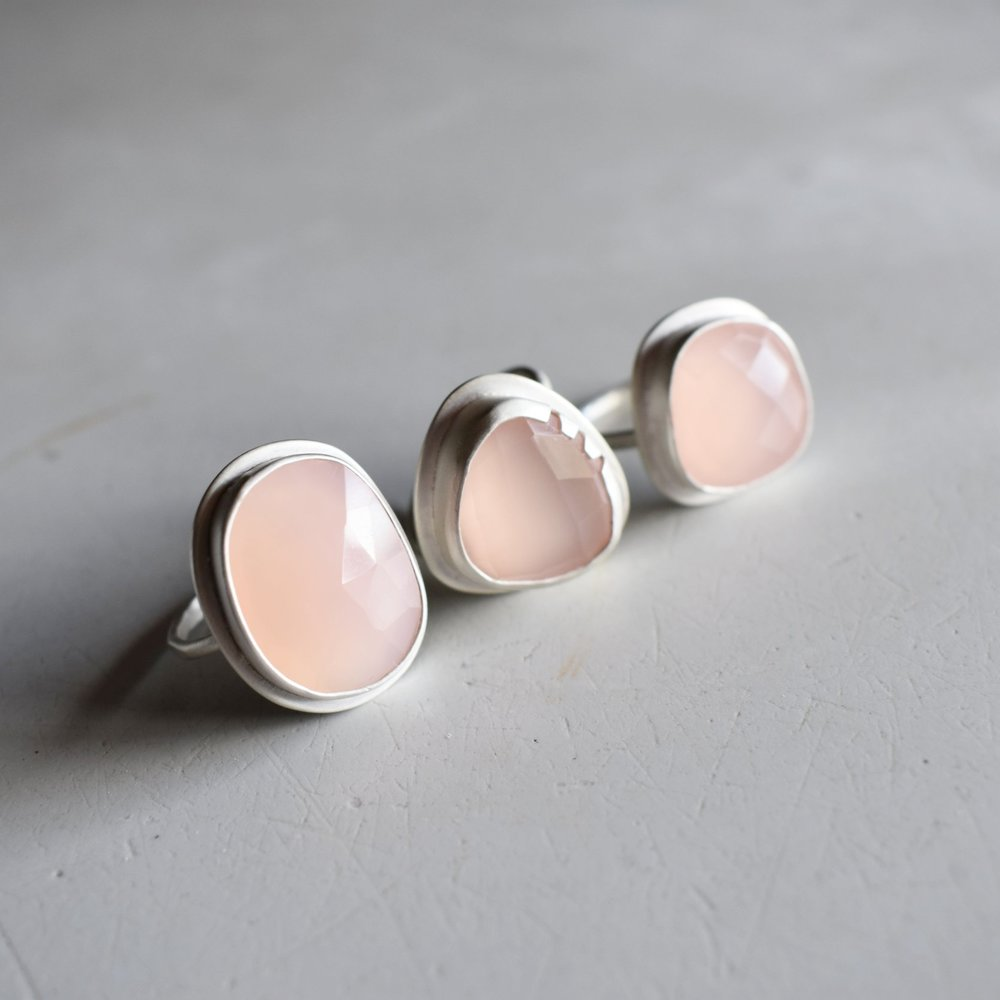 Rose Rings - Sparkling like Mireval in the afternoon, these pieces of pink chalcedony are wonderful. Faceted and unique.Wholesale Price: $72.50Retail Price: $145.00