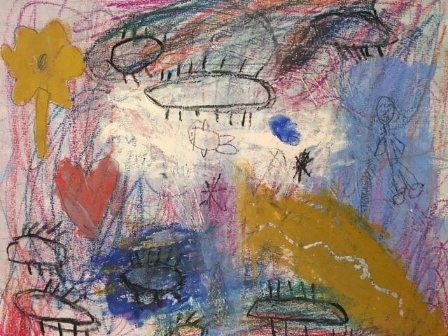 Cy Twombly-inspired artwork by one of the many talented students at The Art Room.