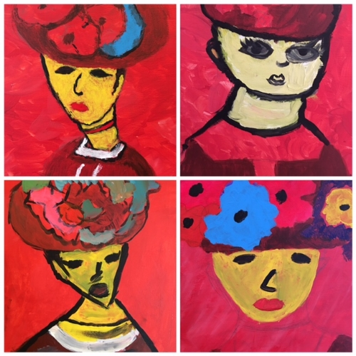 The wild FAUVES! Here are 4 examples of Fauvism-inspired portraits by our students.