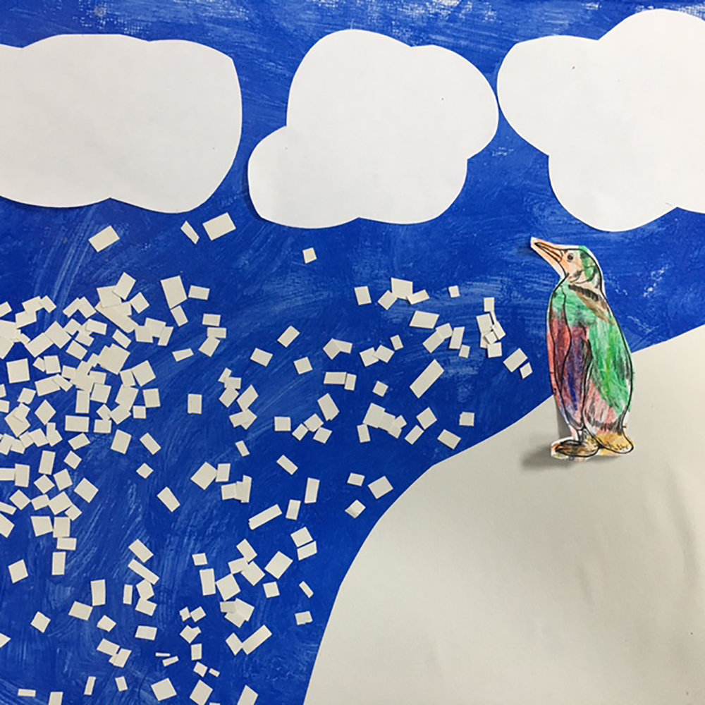 This precious penguin piece is done in acrylic with paper collage. Age 4.