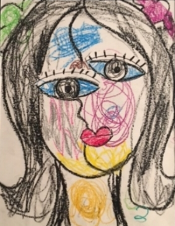 Picasso's Cubist period-inspired self-portrait by Delilah S. Age 4.