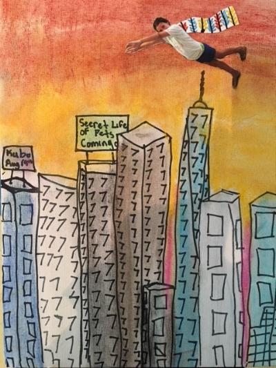 It's a bird, it's a plane...it's Super Artist! Soft pastel, pencil, Sharpie marker, photo cut-out. Age 10.
