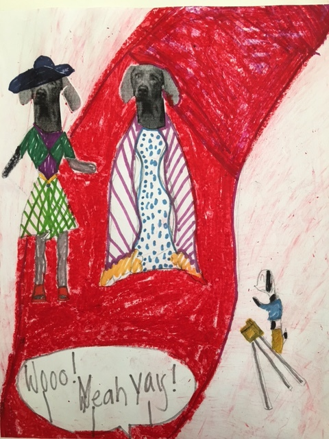An adorable creation inspired by the clever William Wegman's photography! Age 6.