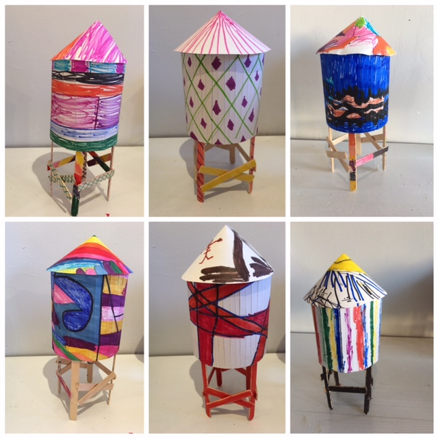 Some of the gorgeous NYC water towers our students created in our Drawing & Design class! Mat board, tagboard, wood, pencil, marker. All ages!