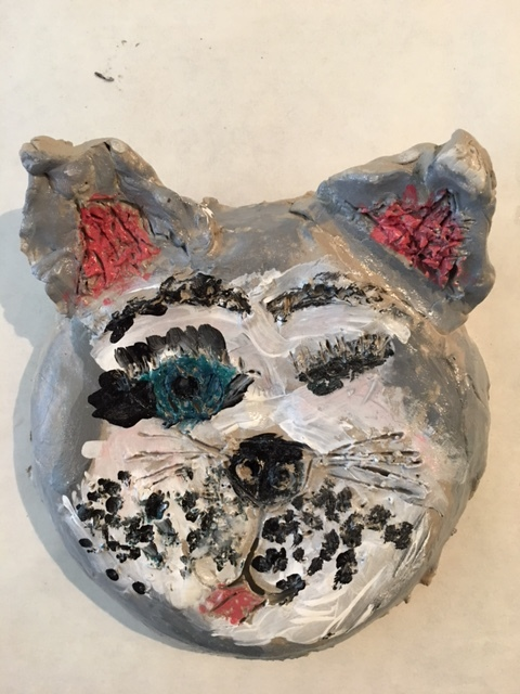 We love clay! Air dry clay sculpture with acrylic and glaze. Focus: form, expression, color, use of material.