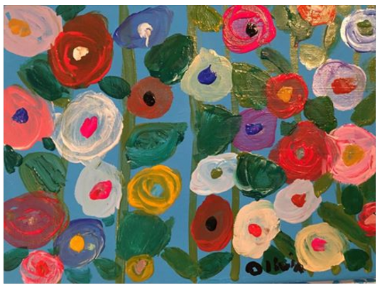 A lovely floral piece! Focus: painting skills, palette mixing, general shapes, brushstrokes, details. Age 5.