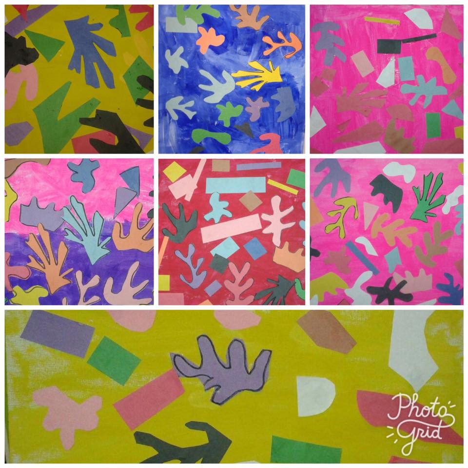 Matisse-inspired paper cutouts on hand painted backgrounds. Our youngest art students, ages 2 to 3.