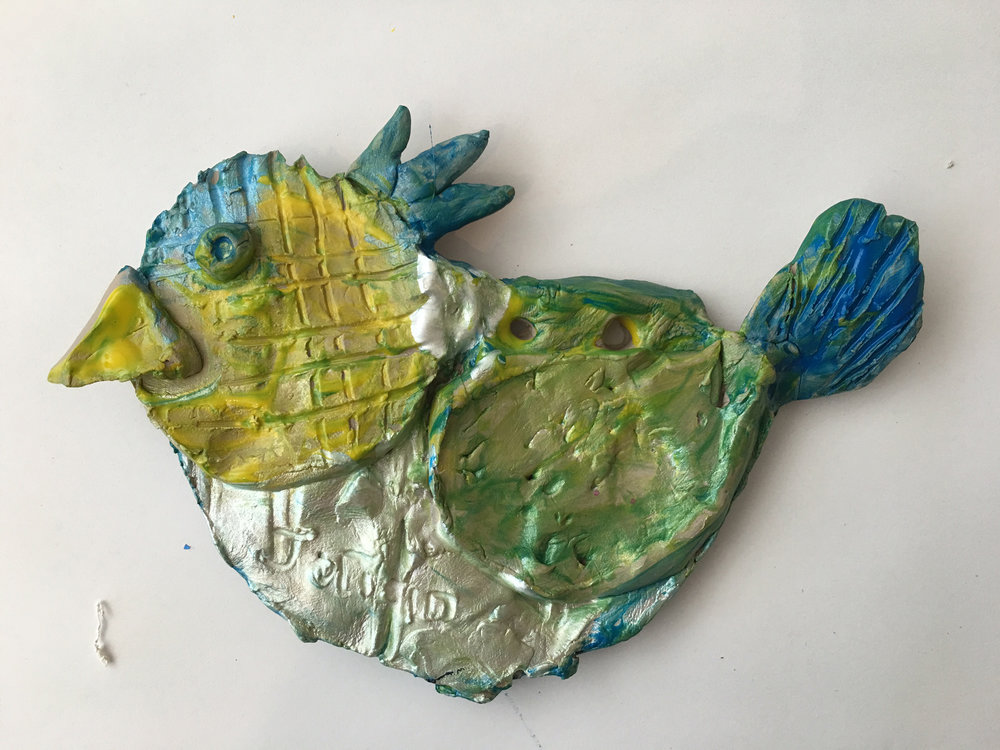 Clay slab bird with tempera glaze