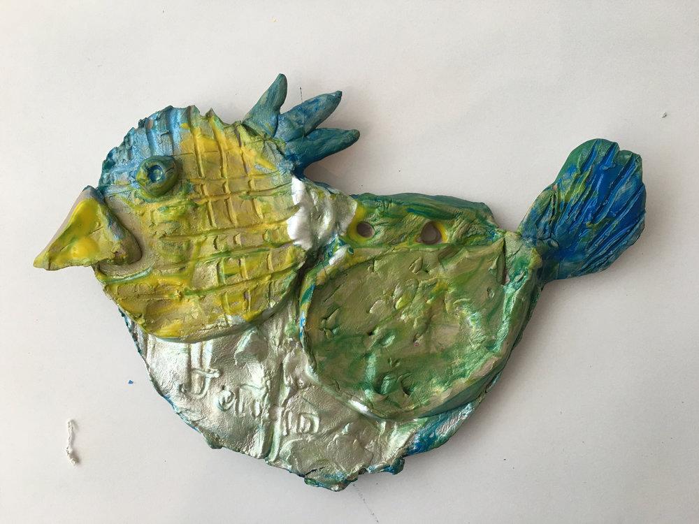 Clay slab bird with tempera glaze