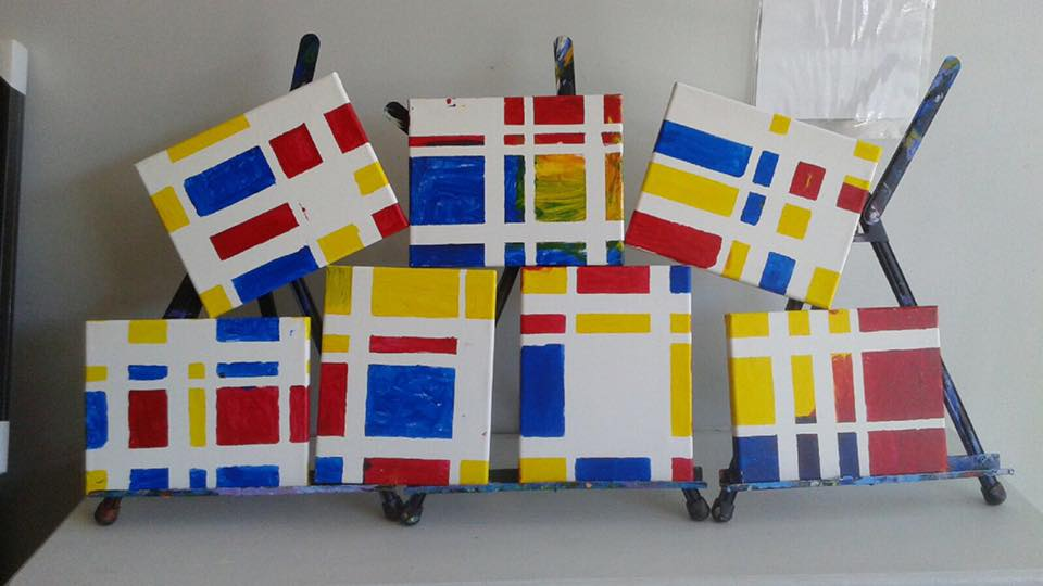 Mondrian-inspired works by our youngest students with their wonderful moms!