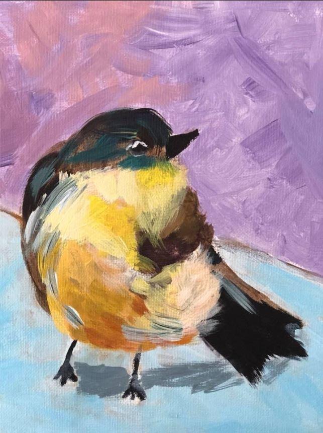 Gorgeous impressionistic bird.  Olivia P. Age 8.