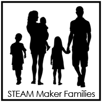 STEAM Maker Families STEAM Makers Family workshops are designed to engage youth and their parents and care-givers in creative visioning activities where they learn the Art of the Possible, create drawings to illustrate how they imagine things working in the future, and how to create, manage, and measure ideas in the real world to transform concepts into real projects and jobs for their families.